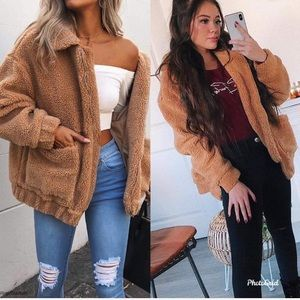 Jackets & Blazers - Camel teddy bear plush furry jacket
